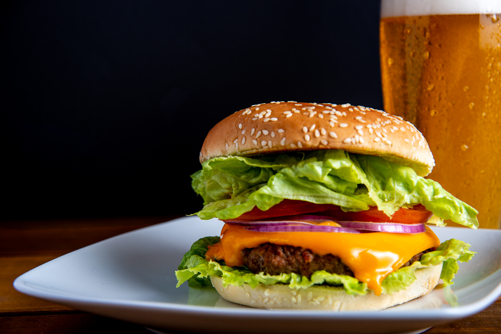 classic hamburger with beer