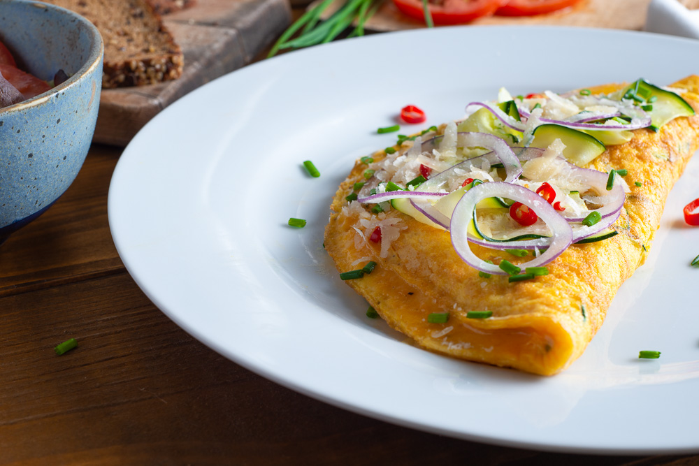 omelette with zucchini and parmesan
